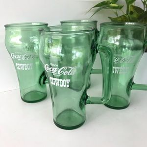 Coca Cola Cowboys Green Glass Mug Set